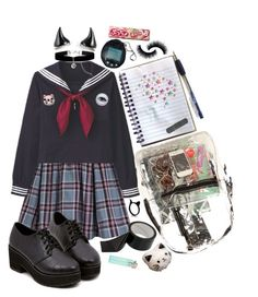"""""""How to burn a school"""" by bandaidkid ❤ liked on Polyvore featuring ONLY, Monsoon, *Accessories Boutique, kawaii, harajuku and seifuku"""