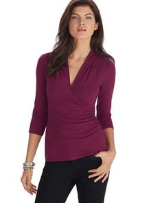White House   Black Market 3/4 Sleeve Button Surplice Top #whbm - Like the color, think it could work.