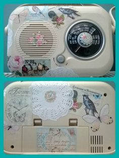 Decoupaged vintage style radio with doilies and printables....made by me