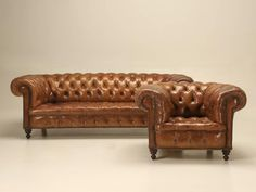 Antique Leather Chesterfield Sofa in Original Leather   From a unique collection…