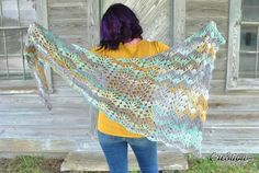 The Calypso Shawl, an asymmetric triangle crochet shawl, is a great, all season, wrap. It can be worn a variety of ways and would look great paired with jeans and a sweater, or even worn over your jacket as a scarf. The Calypso Shawl works up very fast and would make an awesome addition to your Fall/Winter Wardrobe.