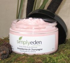 Strawberries & Champagne Goat Milk Body Mousse!  Whipped and airy with tons of butters for dry skin!