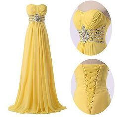 Cheap evening gown beaded, Buy Quality long evening gowns directly from China evening gown Suppliers: Yellow Evening Dresses 2017 A-Line Sweetheart Empire Long Evening Gown Beaded Crystal Chiffon Prom Dress Vestido De Festa Yellow Evening Dresses, Long Evening Gowns, Formal Dresses, Cheap Dresses, Yellow Gown, Sexy Dresses, Yellow Ballgown, Dresses 2016, Beautiful Prom Dresses