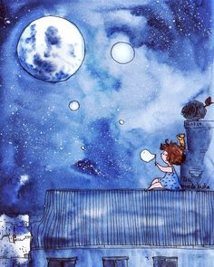 is it the moon? Or one of the bubbles?:) another busy day, but I managed to have a really nice break and hang out with a dear friend! Art And Illustration, Watercolor Illustration, Watercolor Paintings, Owl Paintings, Art Drawings Sketches, Cute Drawings, Cute Photography, Sketch Painting, Whimsical Art