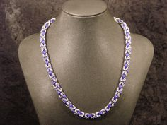 Purple and Silver Byzantine Chainmaille Necklace by JTFrye on Etsy