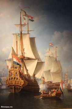 "The Holland 80-gun sailing line ""Seven Provinces"", built at the shipyard of the Admiralty of Rotterdam in 1665. Artist Everhardus Koster / Голладский 80-пушечный парусный линейный корабль ""Семь провинций"", построенный на верфи Адмиралтейства Роттердама в 1665 году. Художник Everhardus Koster"