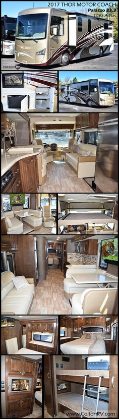 Every inch of space, inside and out, of this 2017 THOR MOTOR COACH PALAZZO 33.3 bunkhouse Class A diesel motorhome is designed to make life on the road more livable. Maximized living space with massive road-side slideout, sleeping for up to eight, bunk beds which convert to a sofa and power drop-down hide-away overhead bunk are just some of the features in this coach.