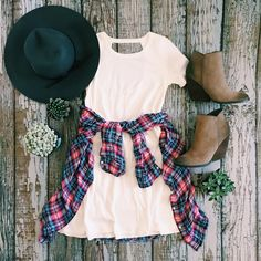 The perfect back to school looks are only a click away! {Coffee Date Shift Dress $34, Perfect in Plaid Top $32, Whitby Bootie by @volatileshoes $78, Fashionably Late Hat $29} {Shop Now Via Link in Bio!} #ShopImpressions #VeryVolatile #BackToSchool #FallFashion