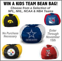 Win a Kids Team Bean Bag!  (Valued at $92)  http://virl.io/qIKBoFrA