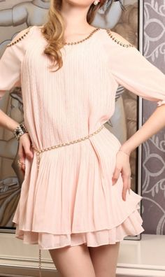 cc7c72791eea3 Dew shoulder chiffon dress with belt D10284 Pink. standout dress for you  girls Dress For