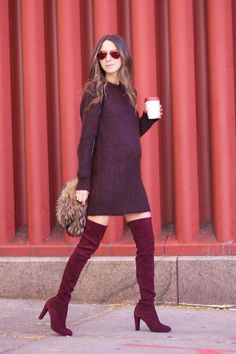 Click for easy ways to wear over-the-knee boots right now -- pair them with a sweater dress (it's a sweet maternity look too, as seen on Something Navy)