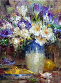Freesias and Lemons original fine art by Julie Ford Oliver