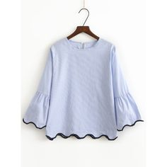 Blue Contrast Binding Bell Cuff Wave Trim Blouse ($20) ❤ liked on Polyvore featuring tops, blouses, blue, frilly blouse, ruffle blouse, ruffle sleeve top, embellished top and embellished collar blouse