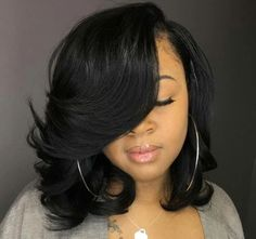 Wavy bob with side bangs wigs for black women human hair wigs lace front wigs african american women wigs black girl natural bob hairstyles My Hairstyle, Straight Hairstyles, Braided Hairstyles, Prom Hairstyles, Sew In Bob Hairstyles, Teenage Hairstyles, Short Haircuts, Short Quick Weave Hairstyles, Summer Hairstyles