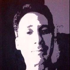 """Self Portrait - Artist Michael Latiolais Acrylic self portrait painted on a 12"""" x 16"""" stretched canvas. Black & White www.ArtByLatiolais.com"""