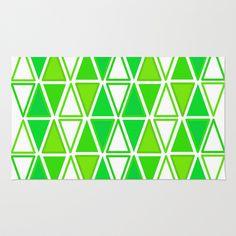 Green #Retro #Triangles Design Area & Throw #Rug