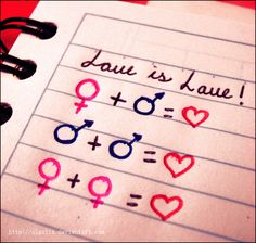 A fourth equation should show that love is love also when sex/gender is not clear cut...