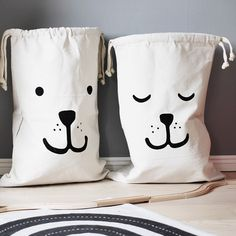 47 * 72 cm Nordic  Style Cotton Canvas  Cartoon  Bear Face Batman Baby Article  Bag Children Room Large Bag Strollers Bag 1pcs