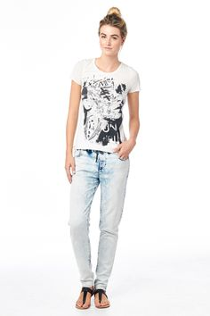 Cult of Individuality Tomboy Light Weight Denim Knit Pants in Snow