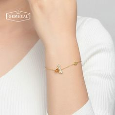925 sterling silver yellow gold plated natural citrine honeybee charm bracelet