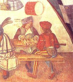 Backgammon   Castello d'Issogne, Val d'Aosta, lunetta del portico, interno di un' osteria, XV secolo