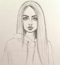 Art & Drawings Drawing, # pencil drawing fixing # pencil drawing photoshop # pencils - Cute Easy Drawings, Cool Art Drawings, Pencil Art Drawings, Beautiful Drawings, Girl Pencil Drawing, Girl Drawing Easy, Pencil Portrait Drawing, Drawings Of Hair, Manga Girl Drawing