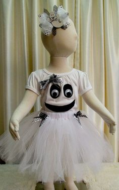 Ghost Tee and Tutu Set - Halloween Happy Ghost 3 pc Costume - Tee Tutu and Bow - Ready To Ship - Size 12 - 18 months
