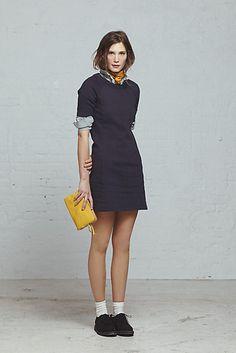 Steven Alan Womens Fall 2013: City Sweatshirt Dress / Reverse Seam Shirt / Silk Scarf / Lilly Bag / Suede Wedge Oxford