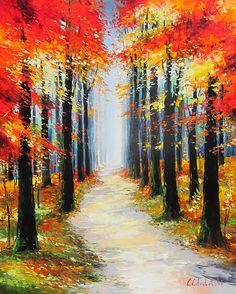 Autumn Walk III by Gleb Goloubetski, Oil on Canvas, 100cmx80cm