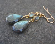AAA FLAWLESS Labradorite Drop Earrings Gold by YaniaCreations, $85.00