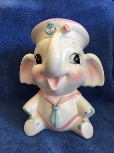 Vintage Japan Inarco Pink & Blue Ceramic Nursery Planter Vase Baby Shower Gift