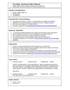 Free Curriculum Vitae Resume Template  HttpWwwResumecareer
