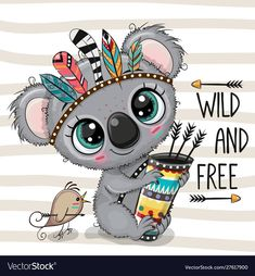 Illustration about Cute Cartoon Koala with feathers on a stripes background. Illustration of free, greeting, feather - 159378660 Cartoon Cartoon, Cute Cartoon Drawings, Cute Animal Drawings, Easy Drawings, Baby Animals, Cute Animals, Striped Background, Woodland Animals, Baby Koala
