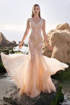 nurit hen 2016 sleeveless vneck fit flare sheath wedding dress (sw25) mv blush color