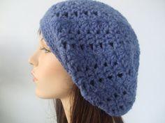 Soft Wool Blend Slouch Tam Hat Snood Blue Beret by yarnnscents, $15.00