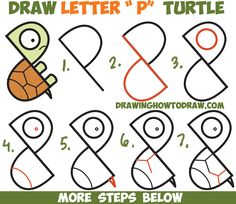 """How to Draw a Cute Cartoon Turtle from Letter """"P"""" Shapes Easy Step by Step Drawing Tutorial for Kids"""