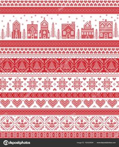 Scarica - Nordic style and inspired by Scandinavian cross stitch craft merry Christmas pattern in red and white including winter wonderland village, church, Christmas trees, stars , snowflakes, angel, heart — Illustrazione stock #162429094