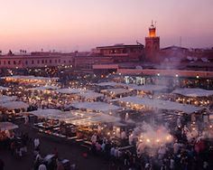 Djemaa el Fnaa square of the Marrakech Medina. View from a cafe rooftop.