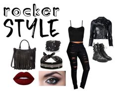 """Bad Ass Rocker Chic"" by elladesilvabeal ❤ liked on Polyvore featuring Boohoo, WearAll, Giuseppe Zanotti, R13, Sif Jakobs Jewellery, Fallon, Frye, Lime Crime, rockerchic and rockerstyle"