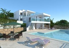 Ref.: V1225 New construction project of an excellent villa with direct access to the beach, first line. With 4 bedrooms, 4 bathrooms, lounge, dining room, swimmingpool and terrace. It has electric shutters, under floor heating, etc.