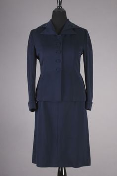 50s VTG Fashionbilt Navy Blue Skirt Suit w/ Beading Detail. Size L - $114 via eBay Vintage Skirt, Vintage Dresses, Vintage Outfits, Skirt Suits, Beading, Navy Blue, High Neck Dress, Detail, Skirts