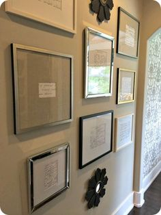 Hand-written recipes, blown up and framed on the wall.  Great idea for a kitchen/dining area!