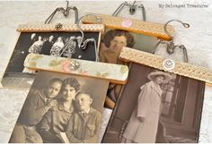 Decorated Wood Hangers from My Salvaged Treasures. These are a fun alternative to regular picture frames. Hanger Crafts, Diy Crafts, Picture Holders, Photo Holders, Vintage Display, Recycling, Wooden Hangers, Repurposed Items, Vintage Crafts