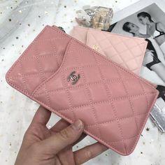 2ecb21f5e73708 Chanel Calfskin Classic Flat Wallet Pouch Phone Holder A84402 Pink 2018(SH)  Chanel Handbags