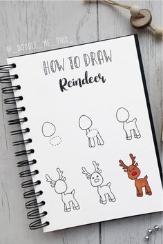 The ultimate collection of CHRISTMAS doodles for your bullet journal Bullet Journal Notebook, Bullet Journal Ideas Pages, Bullet Journal Inspiration, Book Journal, Journals, Easy Christmas Drawings, Christmas Doodles, Christmas Art, Reindeer Drawing