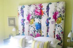 the most amazing upholstered floral headboard!