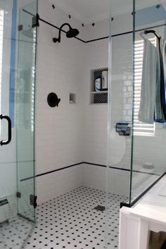 Custom Shower Room Design Ideaswith White Ceramic Glass Mosaic Wall Panel Built In Shelf Combined With Black Polished Iron Ntowel Hanging Likeable