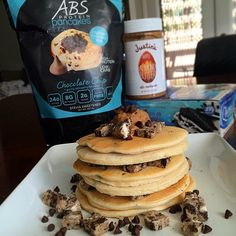 Guilt Free Chocolate Chip ABS Protein Pancakes topped off with almond butter and tons of flavor! No need to wait for cheat day you can enjoy these ABS Pancakes every day while sticking to your lean and delicious nutrition!  Order at http://ss1.us/a/fmUgD675