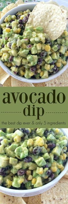 Avocado dip is loaded with avocados, corn, beans, red onion and drizzled with easy canned salsa verde. This is the best dip ever and so easy to make.