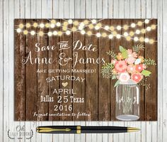 Save the Date Rustic Printable, Country Wedding Invitation, Mason Jar Invites, Wood Style, Fairy Lights, Digital File - Download